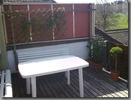 Balcony table and seating