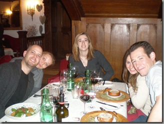Ariel, Tania, Nathalie, Becky and I (left to right) at dinner in the Museum