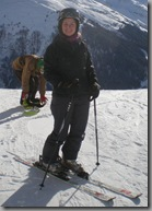Becky proving that she can at least stand on skis!