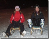 Night sledging with some atmospheric snowflakes