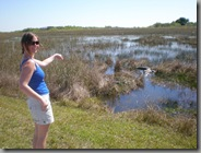 Becky proving she's not scared of gators - probably should have been though considering that was a mother with her baby...