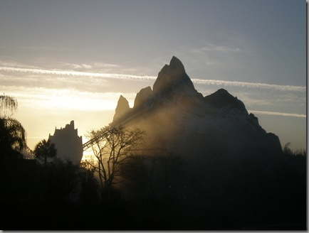 Expedition Everest looking very mysterious in the early morning mist