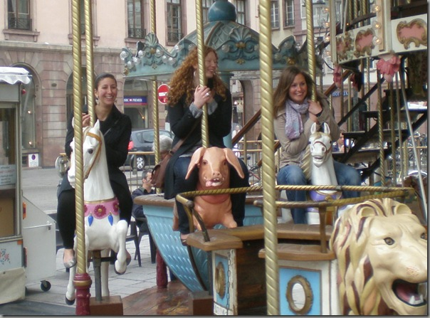Briony, Kathryn and I on the carousel!